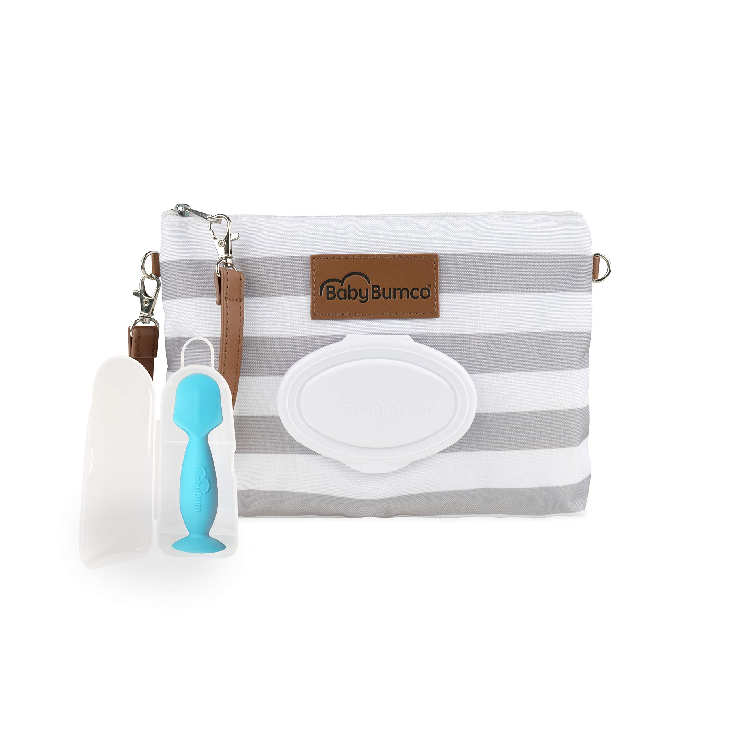 Diaper Clutch Bag and Mini Rash Cream Applicator with Travel Case, Soft Flexible Silicone - Water Resistant; Lightweight; Refillable Wipes Dispenser; Portable Changing Kit (Classic Gray + Blue)