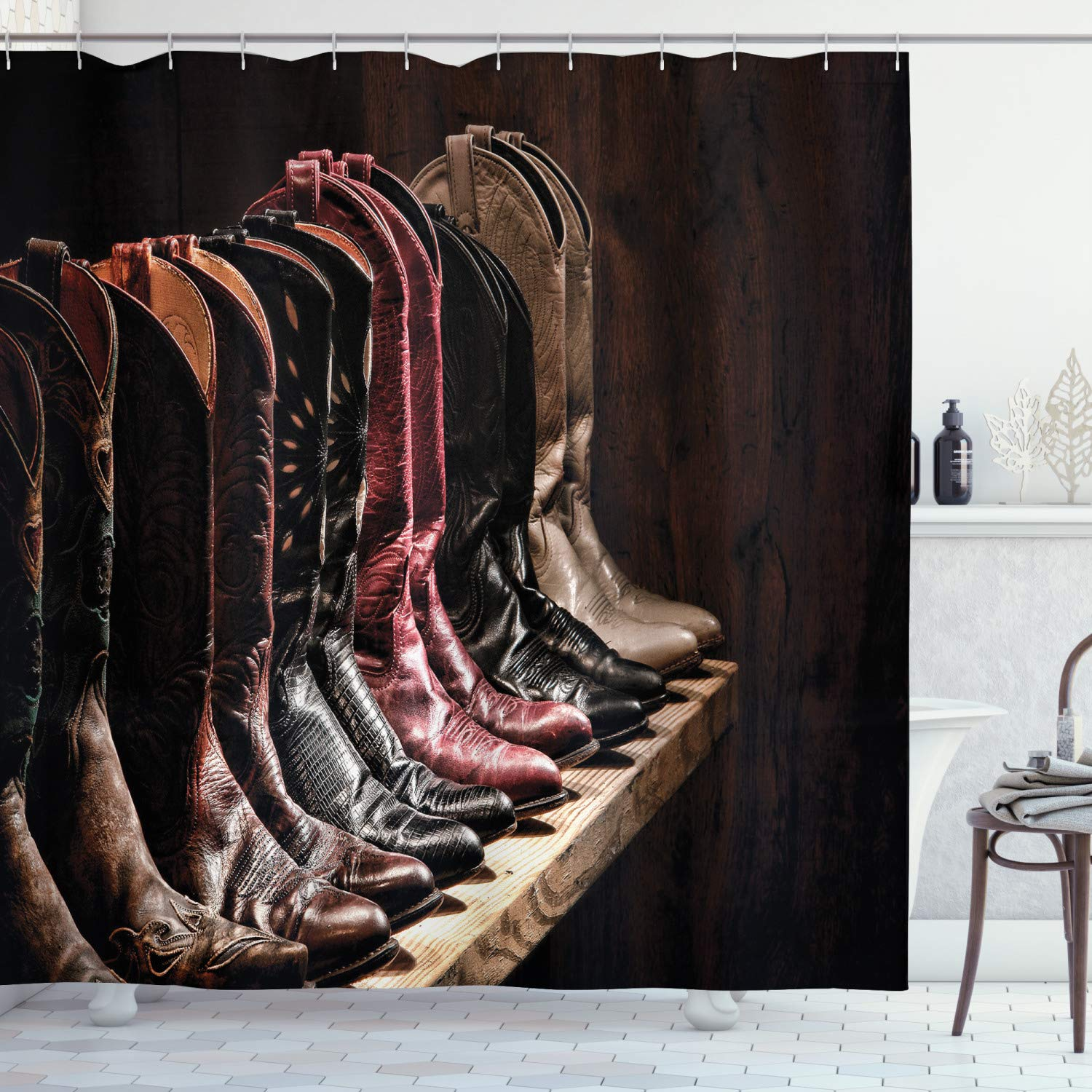 """Ambesonne Western Shower Curtain, Photograph of Various Type of Rodeo Cowgirl Leather Boots Image Art Western Fashion, Cloth Fabric Bathroom Decor Set with Hooks, 84"""" Long Extra, Brown"""