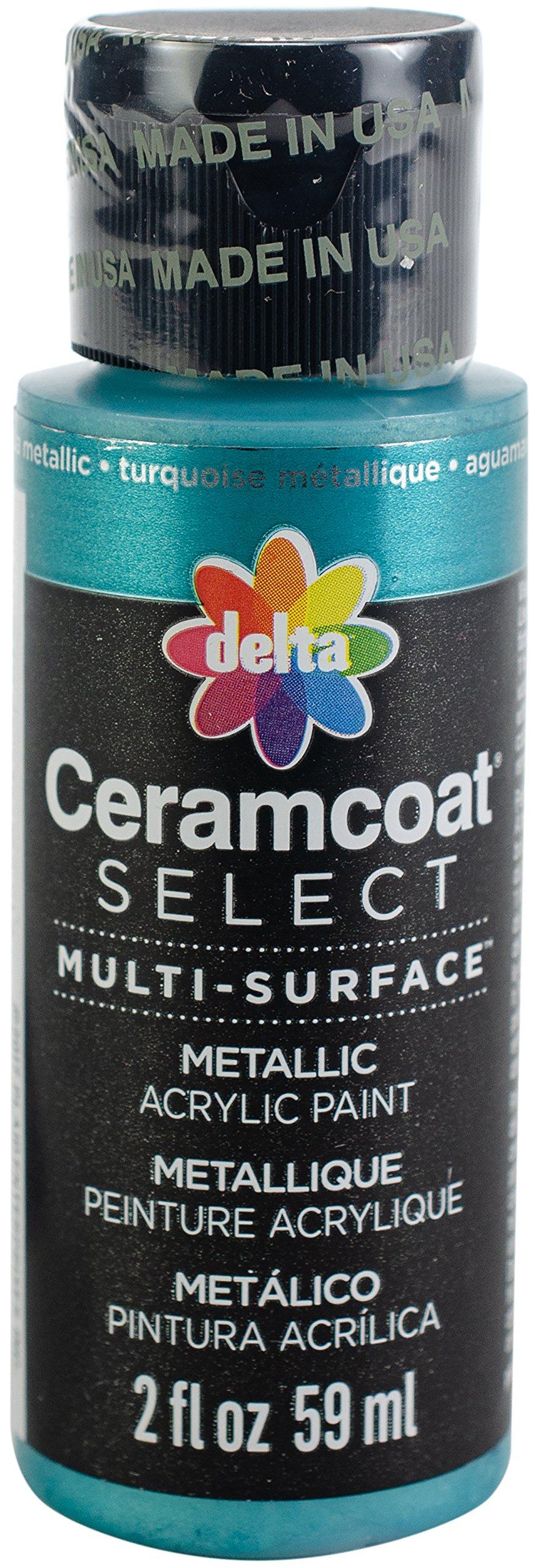 Delta Creative 04103 Multi-Surface Paint, 2 oz, Aqua Metallic