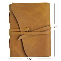 Ricco Bello Artista Handmade Leather Journal Sketchbook and Writing Notebook, Fountain Pen Friendly, 280 Unlined Pages with Line Guide, 5.5 x 7 inches (Camel)