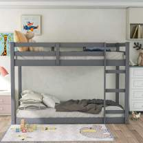 Bunk Bed Twin Over Twin, Classic Wood Low Bunk Bed with Guard Rail & Ladder, Kids Twin Bunk Bed for Boys, Girls, No Box Spring Needed, Easy Assembly, Gray