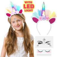 LED Unicorn Headband With Eyelashes And Face Jewelry Set for Toddlers, Children, Teens, Adults For Party. Decorative Floral Headpiece Long Lasting Flashing Lights. Glow In The Dark With On/Off Switch.
