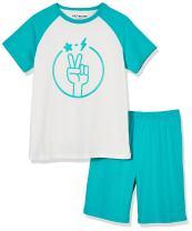 Kid Nation 100% Cotton Short Sleeve Sleepwear Printed Logo Lightweight Pajamas Sets for Boys and Girls