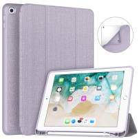 Soke iPad 9.7 2018/2017 Case with Pencil Holder, Lightweight iPad Case Trifold Stand with Shockproof Soft TPU Back Cover and Auto Sleep/Wake Function for iPad 9.7 inch 5th/6th Generation, Violet