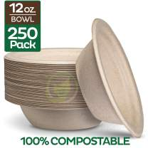 100% Compostable 12 oz. Paper Bowls [250-Pack] Heavy-Duty Quality Natural Disposable Bagasse, Eco-Friendly Biodegradable Made of Sugar Cane Fibers