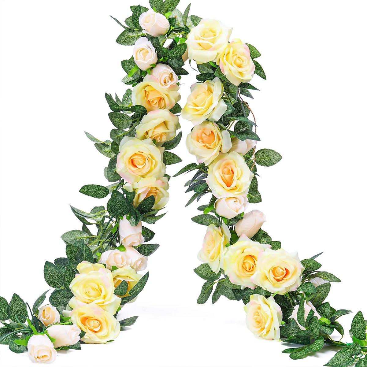 PARTY JOY 6.5Ft Artificial Rose Vine Silk Flower Garland Hanging Baskets Plants Home Outdoor Wedding Arch Garden Wall Decor,2PCS (Champagne)