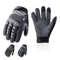 Vgo 3Pairs Deer Split Leather Men's Work Gloves, Lycra Glove Back, Touchscreen Compatible Thumb, Index & Middle Fingers, Velcro Closure (Size L, Grey&Brown&Blue, DB9705)