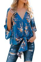 Farktop Womens Floral V Neck Tie Knot Front Blouses Bat Wing Short Sleeve Chiffon Tops Shirts