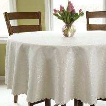 """Turkish Ivory Tablecloth Polyester Table Linen - Stain Resistant Wrinkle free Non-Iron Oblong Square Round Thanksgiving Tablecloth Christmas Tablecloth New Year Eve Gift (IVORY, Round 60"""")"""