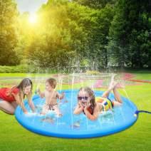 "LEEHUR 67"" Sprinkler Splash Play Mat Outdoor Summer Water Play Pad Toy Swimming Party Gift for Kids Children Infants Toddlers Boys Girls Blue"