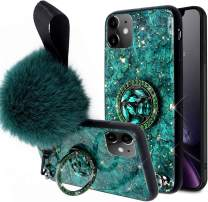 Aulzaju Cover for iPhone 11 6.1 Inch, iPhone 11 Luxury Shiny Cute Case with Ring Stand iPhone 11 Hard Back Raised Edge Marble Hybrid Cover with Soft Furry Ball Strap for Girl Women-Green