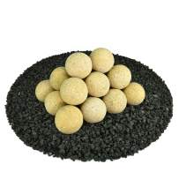 Ceramic Fire Balls | Set of 20 | Modern Accessory for Indoor and Outdoor Fire Pits or Fireplaces – Brushed Concrete Look | Dandelion Yellow, Speckled, 3 Inch