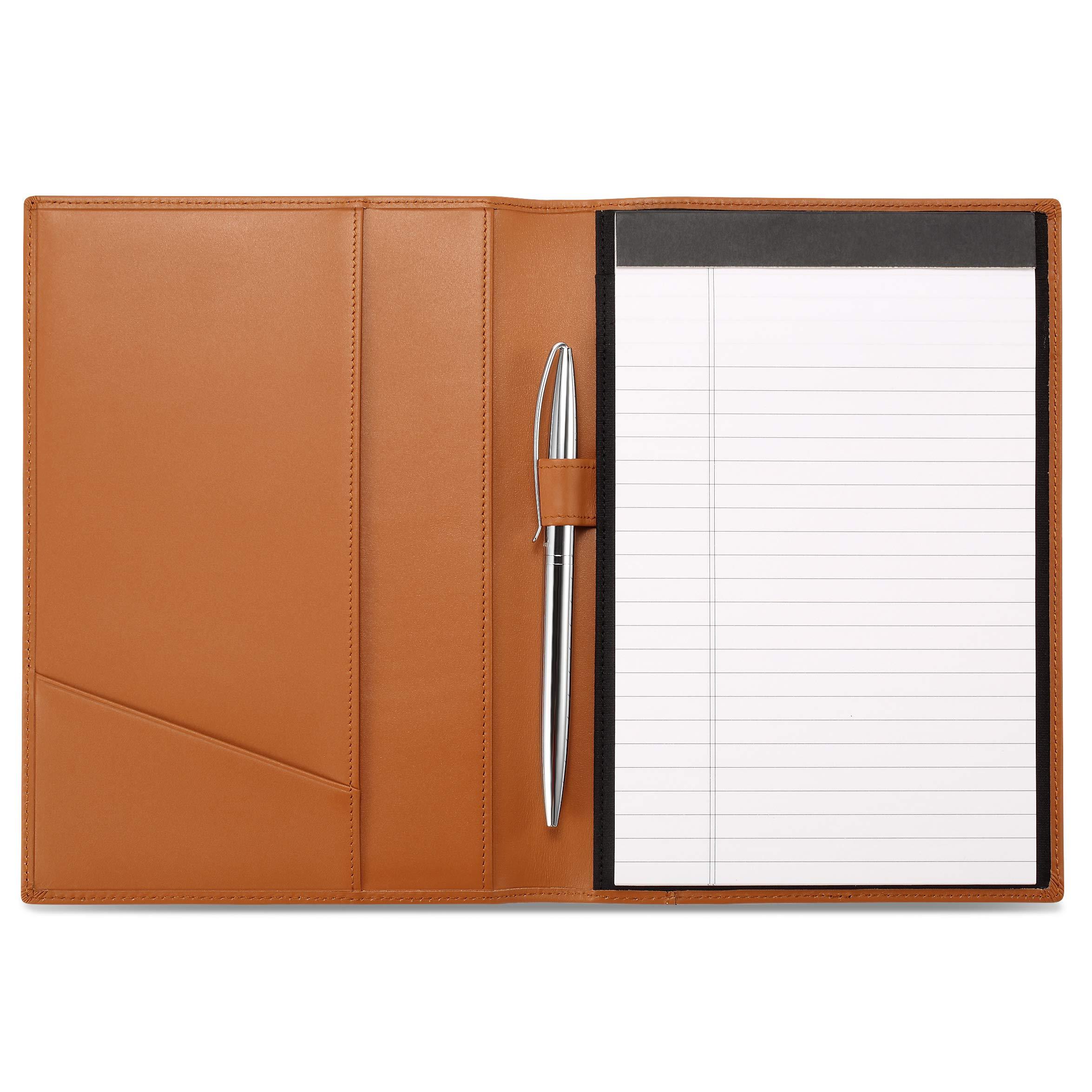 Leather Junior Padfolio for Men & Women with Pen Loop, Italian Calfskin, Business Portfolio Notebook Folder (Premium Cognac)