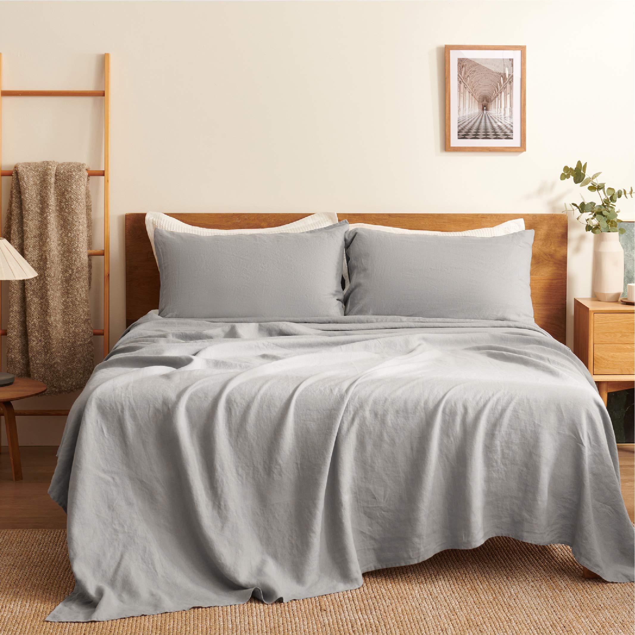 "Bedsure Linen Sheets Set California King Size - 100% Linen Bed Sheets Deep Pocket Sheets, Breathable Bedding Set, Washed French Linen Sheet ( Grey, 108""x102"" )"