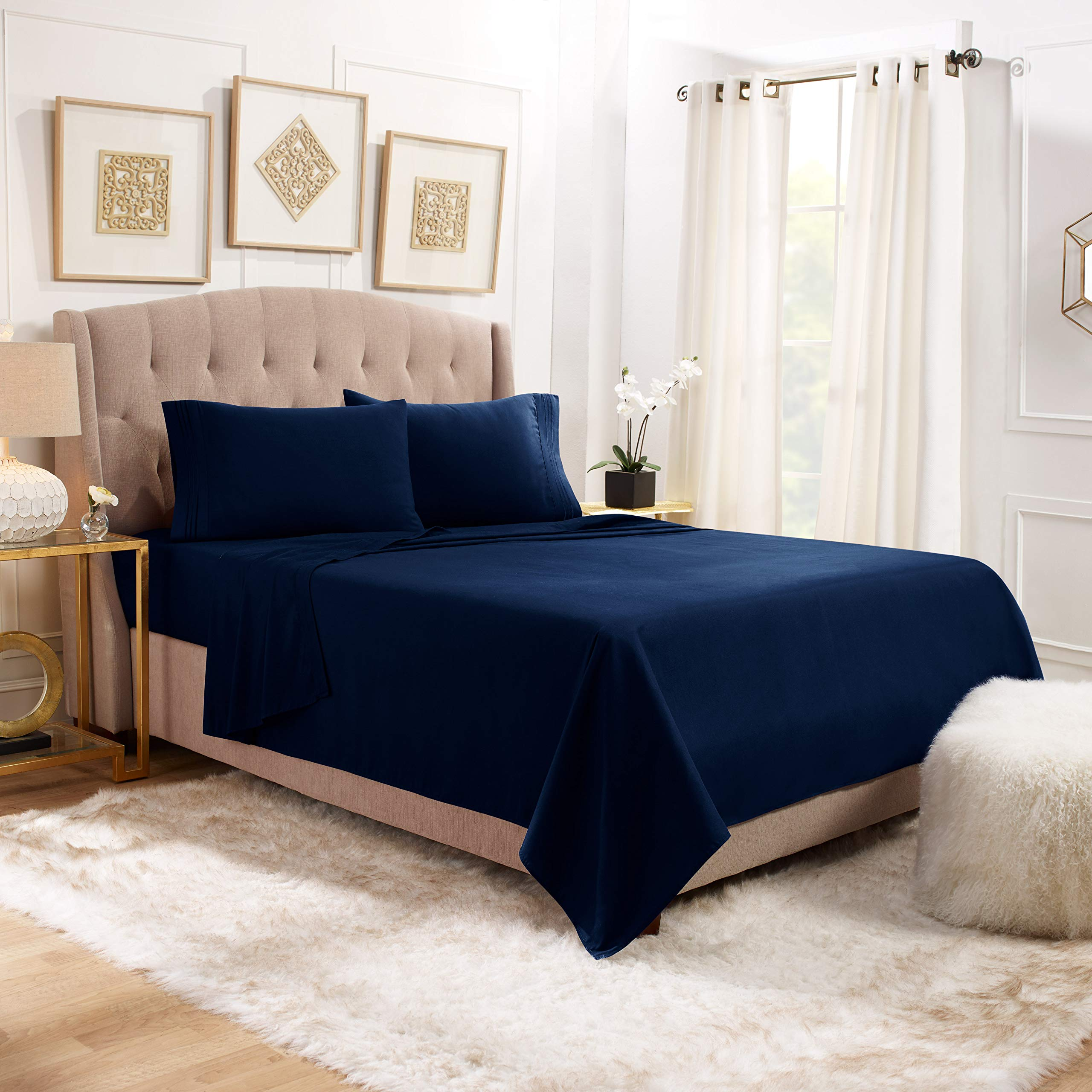 """Empyrean Bedding 14"""" - 16"""" Deep Pocket Fitted Sheet 4 Piece Set - Hotel Luxury Soft Double Brushed Microfiber Top Sheet - Wrinkle Free Fitted Bed Sheet, Flat Sheet and 2 Pillow Cases - Queen, Navy"""