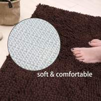 """X•SOAR-Soft and Cozy Chenille Bath Rugs,Non Slip Washable and Fast Dry Absorbent Shower Floor Mats for Bathroom (16""""×24"""" inch, Brown)"""