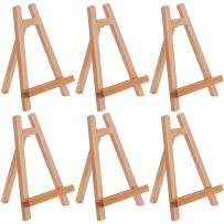 """U.S. Art Supply 10.5"""" Small Tabletop Display Stand A-Frame Artist Easel (Pack of 6), Beechwood Tripod, Kids Student School Painting Party Table Desktop Easel, Portable Canvas Photo Picture Sign Holder"""