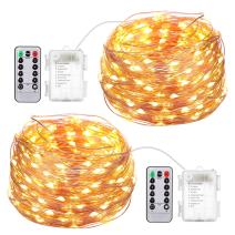 AMIR Upgraded Fairy String Lights, 2 Pack 16.4ft 50 Led Starry Lights with Remote Control, 8 Modes Waterproof Decorative Lights Battery Operated for Garden Wedding Christmas (Battery Not Included)