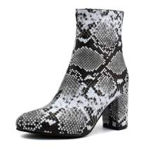 100FIXEO Women Snakeskin Block High Heel Zip Up Party Shoes Ankle Boots