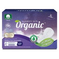 Audrey Sun Organic Pads and Organic Panty Liners for Women - Certified Organic Natural Cotton Pads - Overnight - 6 Count (Packaging May Vary) - Made in Korea ON06