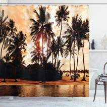 "Ambesonne Beach Shower Curtain, Tropic Ocean Sea Love Bora Bora Island Palms Art for Nature Lovers Sunset Scene, Cloth Fabric Bathroom Decor Set with Hooks, 70"" Long, Orange Brown"