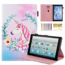 Dteck Case for All-New Amazon Fire HD 10 Tablet (9th/7th Generation, 2019/2017 Release) - Slim Fit PU Leather Folio Stand Smart Cover with Auto Wake/Sleep for Fire HD 10.1 inch, Flower Unicorn