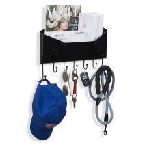 Wallniture Foyer or Entryway 16 Inch Organizer Rack Wall Mountable Key Hangers Mail Holder Steel Black …