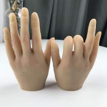 Nail Hand Practice Silicone Female Mannequin Life Size Hand as Sketch Nail Practice Hands Jewelry Ring Glove Watch Display with Nail 18cm (Right hand, Skin color)