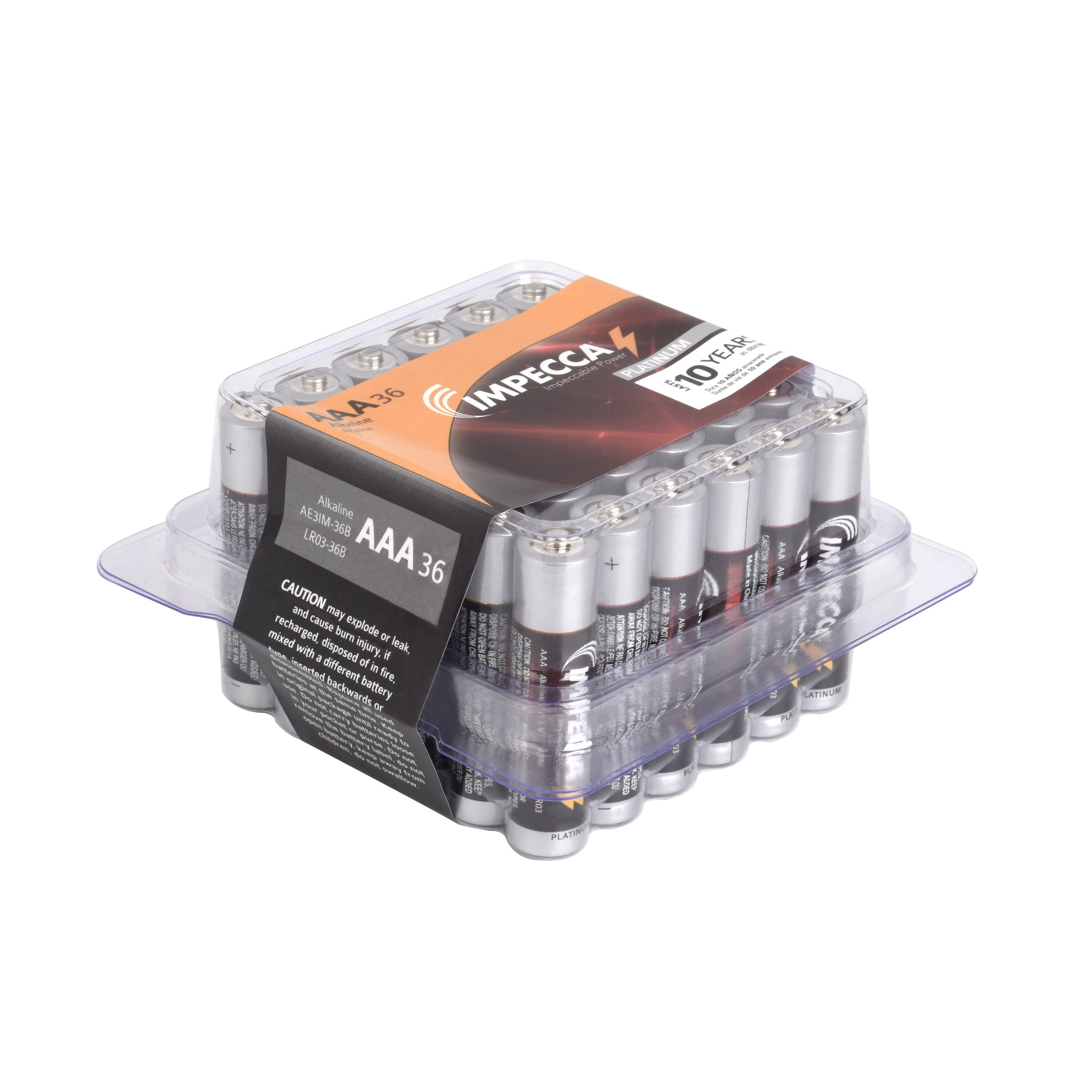 IMPECCA AAA Batteries, All Purpose Alkaline Batteries (36-Pack) High Performance AAA Battery Long Lasting Shelf Life and Leak Resistant 36-Count LR3 - Platinum Series