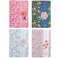 Hardcover Notebook 6 × 8 Inch, 4 Pack Thick Writing Journal College Ruled Floral Notebook Lined Paper for School Students Office Travel, 96 Sheets/192 Pages, A5 Size