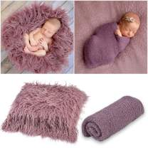 Outgeek Newborn Baby Photography Props Blanket Long Hair Photography Wrap Shaggy Area Rug Baby Photo Prop (Purple)