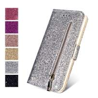 ZCDAYE Wallet Case for iPhone 7 Plus 8 Plus, Bling Glitter Sparkly Zipper PU Leather Magnetic Flip Folio Card Pockets Holder with Tape Protective Case Cover for iPhone 7 Plus/8 Plus - Silver