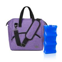 Luxja Breastmilk Cooler Bag with an Ice Pack (Fits 6 Bottles, Up to 9 Ounce), Breastmilk Cooler for Breastmilk Bottles and Small Accessories, Purple