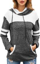 Angashion Womens Hooded Sweatshirts Striped Color Block Drawstring Pullover Hoodies with Kangaroo Pocket
