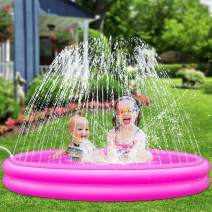 Inflatable Kiddie Pool, Sprinkler for Kids Baby Toddlers Outdoor Water Toys for 4-9 Year Old Boys, Kids Swimming Pool, Outside Water Sprinkler Fun Splash Pad Gifts for 3-12 Year Old Girls (50''x12'')