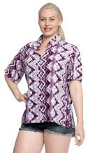 LA LEELA Womens Relaxed Hawaii Blouse Shirt Premium Casual Dress Shirt Printed A