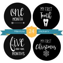 "Baby Milestone Stickers by The Hamptons Baby - 24 Pack of Monthly Belly Milestones for Onesies, Months, Milestones, Firsts & Holidays - First Year (4"" Round)"