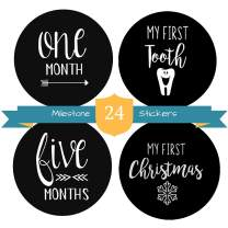 """Baby Milestone Stickers by The Hamptons Baby - 24 Pack of Monthly Belly Milestones for Onesies, Months, Milestones, Firsts & Holidays - First Year (4"""" Round)"""