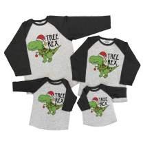 7 ate 9 Apparel Matching Family Christmas Shirts - Tree Rex Dinosaur Grey Shirt