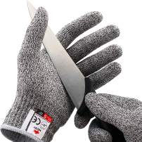 NoCry Cut Resistant Gloves - Ambidextrous, Food Grade, High Performance Level 5 Protection. Size Large, Complimentary Ebook Included