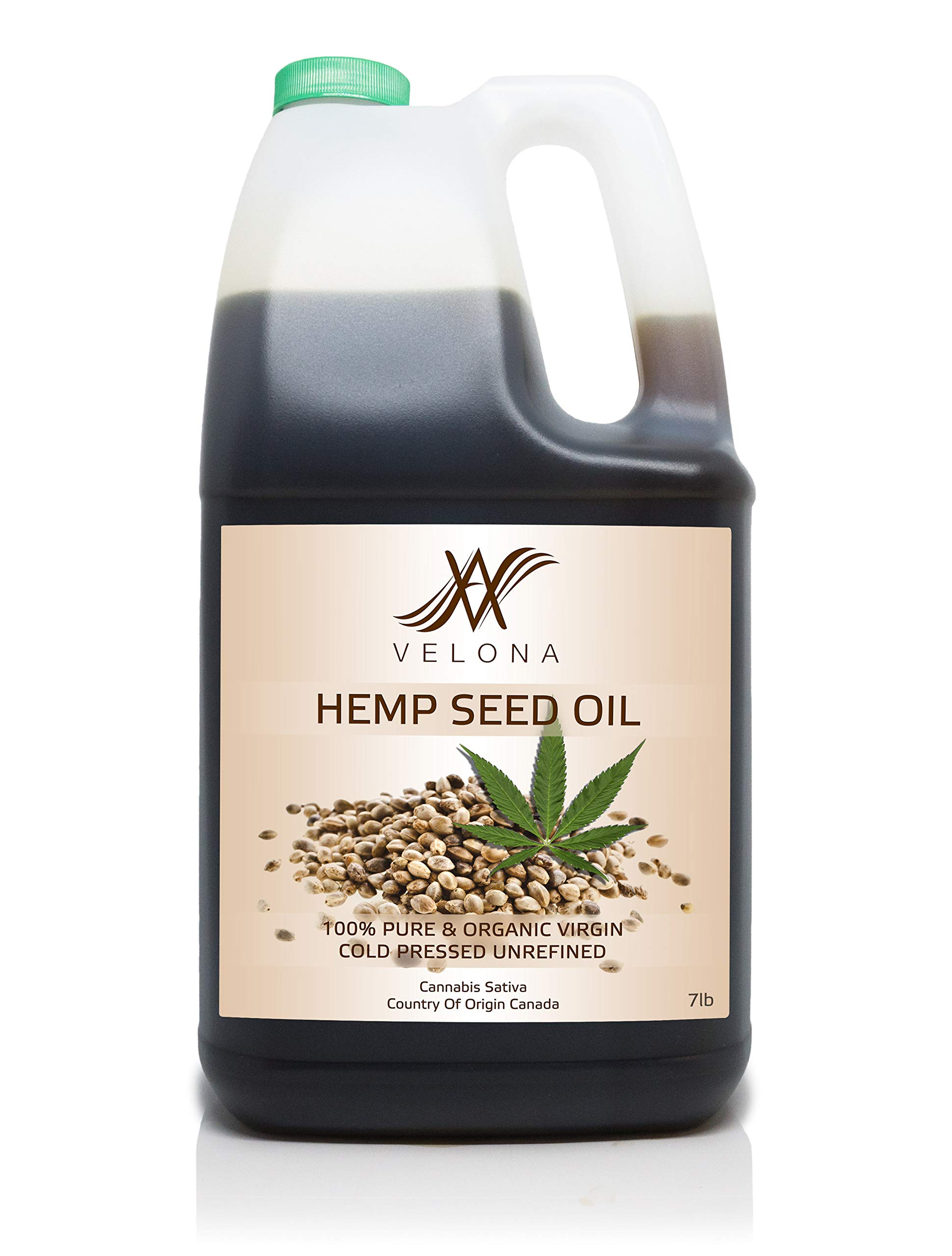 100% HEMP SEED OIL by Velona | All Natural CLEAR CARRIER Oil for Body, Skin & Hair Care and Pain Relief | Unrefined, Cold Pressed, Row | Size: 7 LB
