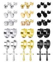 LOYALLOOK 15 Pairs Stainless Steel Stud Earrings Round CZ Non-piercing Magnetic Earrings Cross Earrings Cross Dangle Hinged Hoop Earrings Set for Men Women