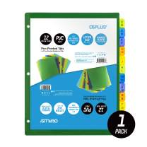 OS Plus 12-Tab Pre-Printed Plastic Dividers, Assorted, (Alphabet A-Z), 1 Set