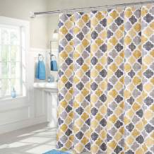 """Haperlare Yellow Shower Curtains with 84 Inch Height, Quatrefoil Tile Pattern Fabric Shower Curtains for Bathroom, Cotton Blend Washable, 72"""" x 84"""", Yellow/Grey"""