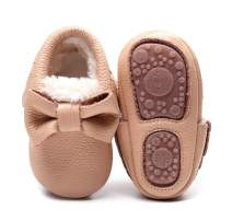 Bebila Baby Moccasins for Girls Boys - Fur Fleece Lined Baby Shoes Autumn Winter Warm Genuine Leather Infants Slippers with Rubber Sole