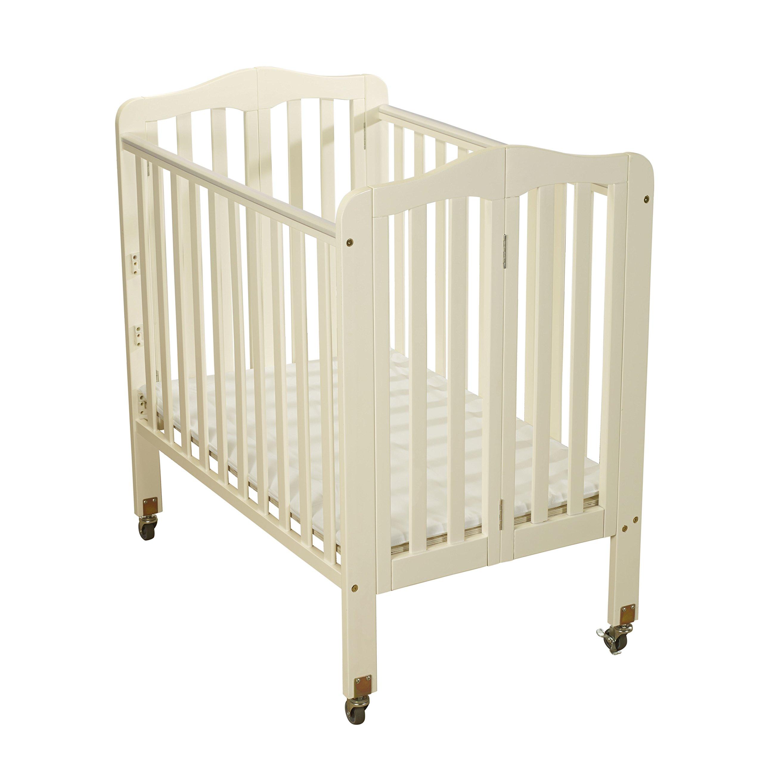 Big Oshi Angela 3 Position Portable Adjustable Crib Foldable & Space Saving Baby Crib - French White