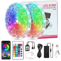Voyoly 65.6ft Led Strip Lights for Bedroom, Music Sync Flexible Smart Led Lights with Phone APP Control and 24 Keys Remote for Bedroom, House, Party and Holiday Decoration (Style A)