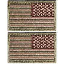 2 Pieces Tactical USA Flag Patch American Flag US United States of America Regular and Reverse Military Uniform Emblem Patches (Multitan - 2 Packs Reverse)