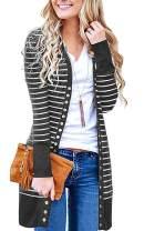 CinShein Women's Striped Cardigan Button Down Knitwear Striped Long Sleeve Knit Ribbed Neckline Sweater Coat