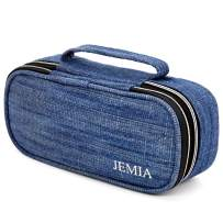 JEMIA Square Compartments Collection 2 Independent Zipper Chambers with Handle Strap, Mesh, Slot Pockets Pencil Case (Blue Denim Jean Style, Canvas)